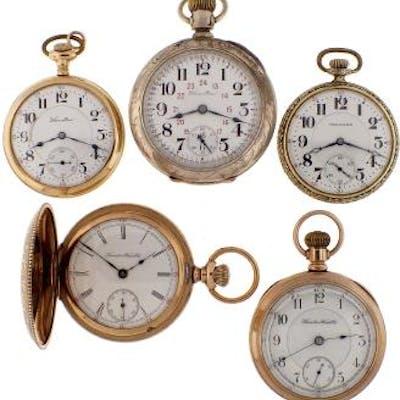 Five Hamilton pocket watches