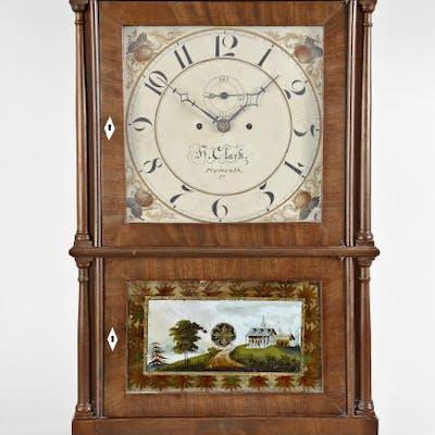 Heman Clark, Salem Bridge, Conn., 8 day, 4-column shelf clock.