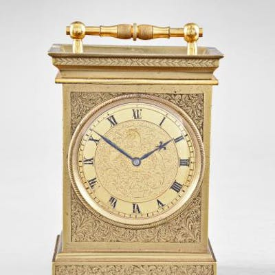 Decorative English repeating carriage clock with unusual balance