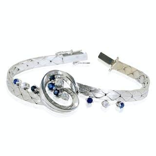 Diamant-Armband mit 11,40ct Saphiren und 7,15ct Diamanten in Weissgold