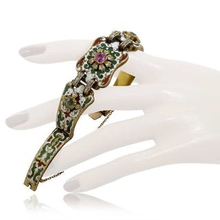 Antikes Diamant Armband mit Email und 0,78ct Diamantrosen, Smaragd