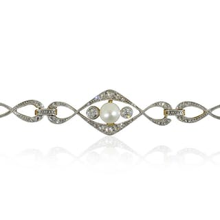 Antikes Armband mit 22 Diamantrosen und 2 Diamanten in Platin mit Gold