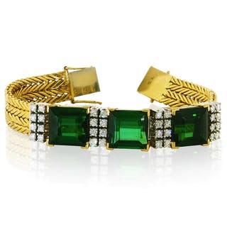 Diamant Armband mit smaragd-grünem Email VICTOR MAYER für FABERGÉ
