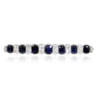 Saphir-Diamant-Stabbrosche mit 1,41ct Diamanten und 7,88ct Saphiren