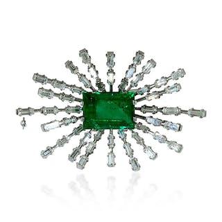 Diamantbrosche Navetteform mit Perlchen und 2,06ct Diamanten