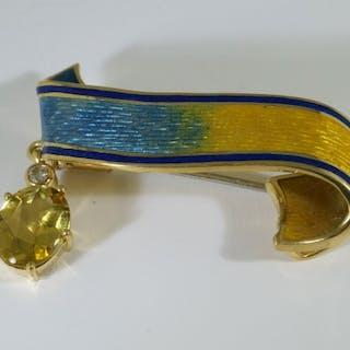Brillant-Diamant-Brosche mit 3,07ct Brillanten vsi/TW Diamant-Navettes