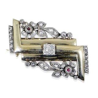 Diamant-Brosche 0,77ct Diamantrosen und Rubinen aus Silber und Gelbgold