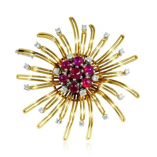 Smaragd-Diamant-Gelbgold Brosche, 18 kt mit 0,92ct Diamanten, Smaragden