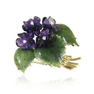 Amethyst Veilchen Diamant-Brosche 'Blumenbouquet' mit vier Diamanten