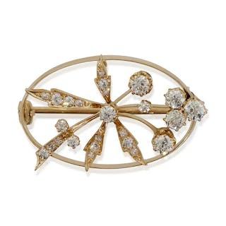 Ovale Diamant-Brosche aus 14 kt Roségold mit 25 Diamanten 1,11ct