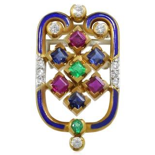 Diamant-Dressclip Brosche in Gelbgold mit Rubin, Saphir, Smaragd und