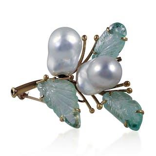 Perlen Edelstein Brosche mit zwei großen weißen Barockperlen und drei
