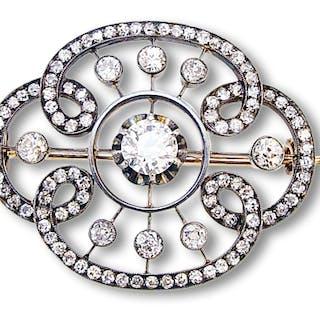 Diamantbrosche Gold/Silber mit großem Mittelstein ca 0,95 ct