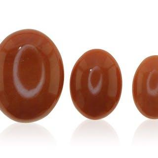 Drei echte Sardegna Koralle, ovale Cabochos sehr gute Qualität