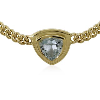 Aquamarin-Goldcollier, 4,11ct Aquamarin im Triangelschliff mit Rundpanzerkette