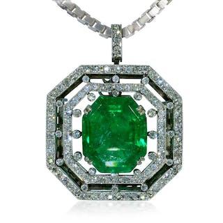 Exquisiter Kolumbianischer Smaragd 4,45ct und 0,25ct Diamanten als