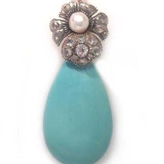 Antiker Einhänger mit Blüte und Diamantrosen an Türkistropfen