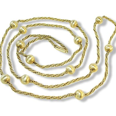 Gelbgold-kordelkette 585 mit goldenen Kugeln, 78cm Länge