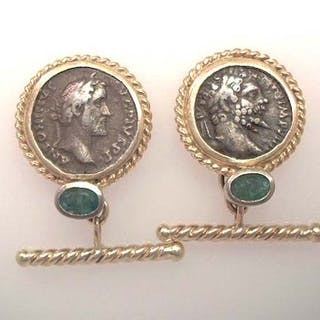Manschettenknöpfe - Smaragd und Münze in Gold gefasst