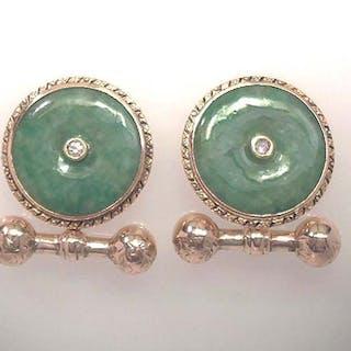 Manschettenknoepfe mit Jade und Diamant
