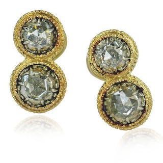 Ohrringe Gelbgold 750 mit 0,95ct Diamantrosen