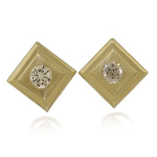 Diamant-Ohrringe quadratisch mit 1,18ct Diamanten auf Stift mit Clip Gelbgold