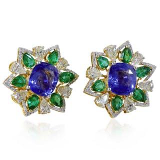 Diamant-Smaragd Safir Ohrstecker, 14 kt Gelbgold mit 4,40ct Diamanten