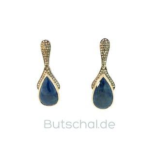 Saphir-Diamant-Perlenohrringe mit 0,57ct Diamanten und 1,15ct Saphiren