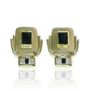 Diamant Ohrclips mit Onyx in Gold, 0,78 ct Carree-Diamanten