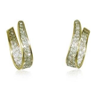 Diamant Ohrstecker, 14 kt Gelbgold mit 5,89ct Blautopas, Rubinen und