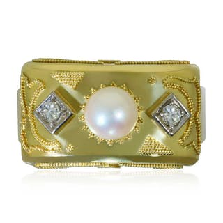 Smaragd Bandring in 18 kt Gelbgold mit 6 Diamanten 0,51ct und Smaragd Cabochon