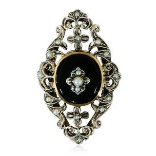 Diamantring in 18 kt Weissgold mit weißen und orangenem Diamanten