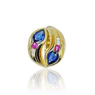 Schlangen Ring mit Diamanten, Rubinen und 3,139ct Safiren in 750 Gold
