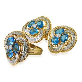 Diamant-Brillantring mit einem großen Diamanten im Brillant- und 4