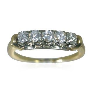Weißgold Ring mit Perle und 0,74ct Diamanten