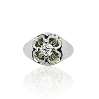 Diamantring, Bandring mit Kleeblattfassung, Diamant 0,372ct 750 Weissgold