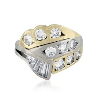 Diamant-Ring 14 Diamanten 1,57ct in zwei Schliffen in Weissgold und Gelbgold
