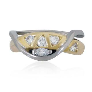 Diamant-Croiséring mit 5 Diamanten in zwei Schliffen in 18 kt Gel