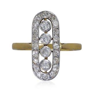Diamantring im Art Deco Stil länglich oval, 0,82ct Diamanten, 18 kt