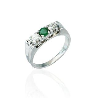 Smaragdring mit Diamanten 0,335ct und Smaragd 0,182ct, Weißgold 18kt