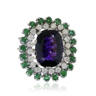 Diamant- Amethyst-Smaragd Ring, 0,78ct Diamanten und Smaragden, 7,56ct Amethyst