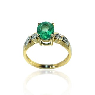Smaragd-Diamantring mit oval facettiertem Smaragd 1,94ct und 0,07ct
