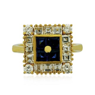 Diamant-Amethyst-Ring, 14 kt Weißgold mit 0,55ct Diamanten und 12,26ct