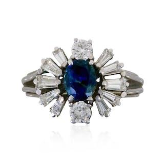 Brillant-Ring mit 1,03 ct Brillant Weiß und rein in Weißgold