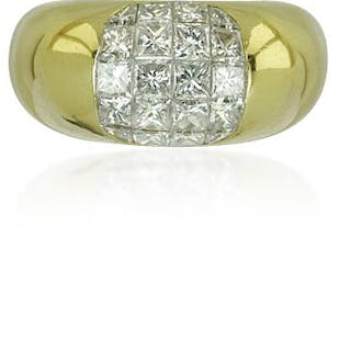 Diamantring in Gelbgold mit Pavee gefassten 1,61ct Diamanten invisible setting