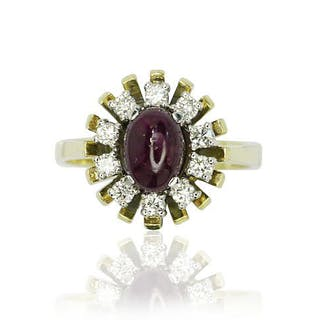 Ring mit einem Rubin 1,684ct und Diamanten 0,356ct, 585 Gelbgold