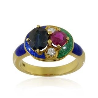 Diamant-Rubin-Saphir-Ring mit kleinen Diamanten, Smargdgrünes und