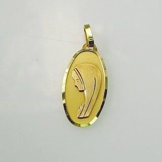 """Anhänger Gold 18 kt """"Madonna"""" oval lange Medaille"""