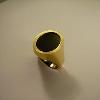 Herrenring Gold 18 Kt, Onyx, oval
