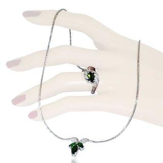 Diamantcollier mit 480 Baguette und Vollschliff Diamanten in 18 kt